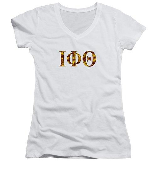 Iota Phi Theta - White Women's V-Neck T-Shirt (Junior Cut) by Stephen Younts
