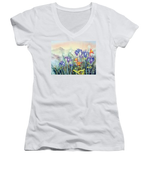 Women's V-Neck T-Shirt (Junior Cut) featuring the painting Iris And Columbine II by Teresa Ascone