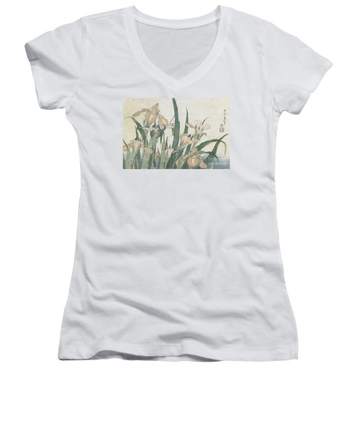 Iris Flowers And Grasshopper Women's V-Neck T-Shirt