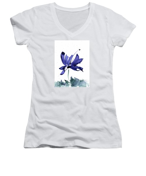 Women's V-Neck T-Shirt (Junior Cut) featuring the painting Iris In The Greenery Watercolor by Frank Bright