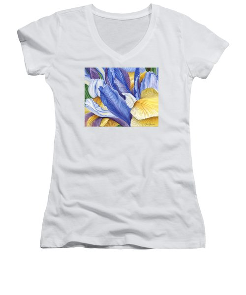 Women's V-Neck T-Shirt (Junior Cut) featuring the painting Iris by Jane Girardot
