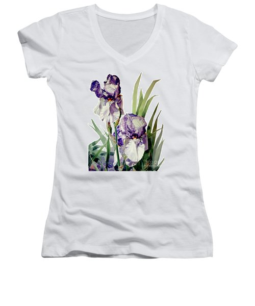Watercolor Of A Tall Bearded Iris In Violet And White I Call Iris Selena Marie Women's V-Neck T-Shirt