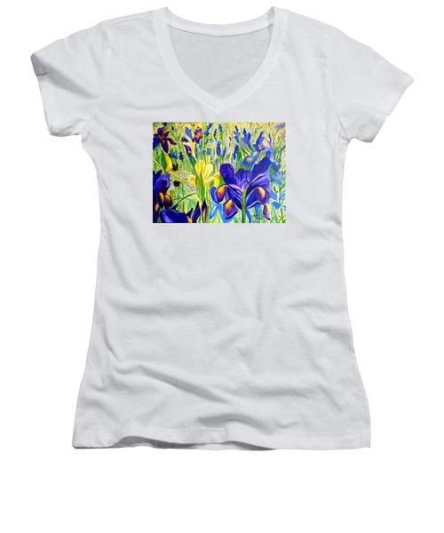Iris Spring Women's V-Neck T-Shirt (Junior Cut) by Julie Brugh Riffey