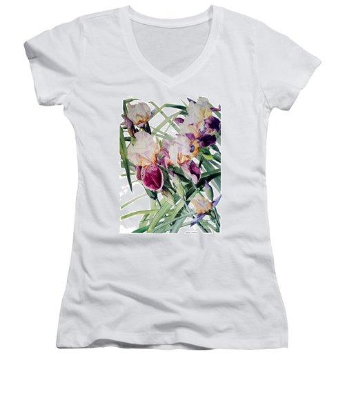 Watercolor Of Tall Bearded Irises I Call Iris Vivaldi Spring Women's V-Neck (Athletic Fit)