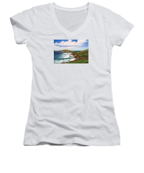 Dingle Peninsula Irish Coastline Women's V-Neck T-Shirt (Junior Cut) by Melinda Saminski