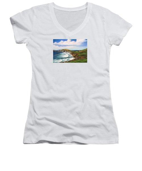 Women's V-Neck T-Shirt (Junior Cut) featuring the painting Dingle Peninsula Irish Coastline by Melinda Saminski