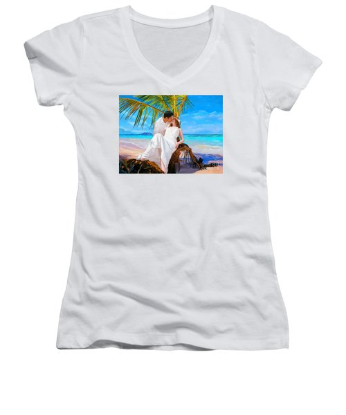 Women's V-Neck T-Shirt (Junior Cut) featuring the painting Island Honeymoon by Tim Gilliland
