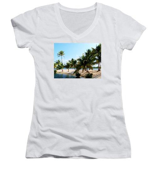 Women's V-Neck T-Shirt (Junior Cut) featuring the photograph Isle @ Camana Bay by Amar Sheow