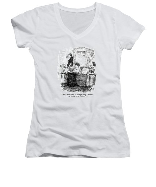 Isn't It About Time We Stopped Being Reaganites Women's V-Neck T-Shirt (Junior Cut) by Robert Weber