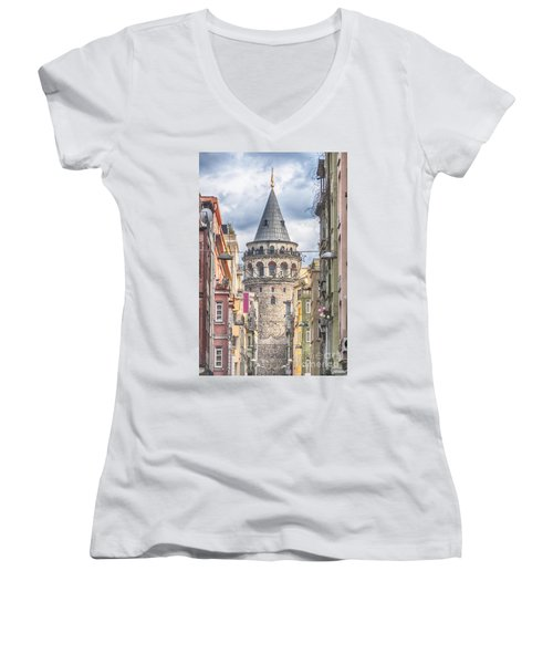 Istanbul Galata Tower Women's V-Neck T-Shirt (Junior Cut) by Antony McAulay