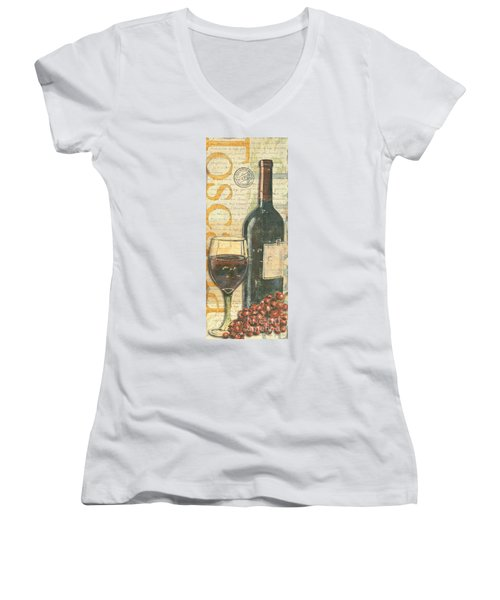 Italian Wine And Grapes Women's V-Neck (Athletic Fit)