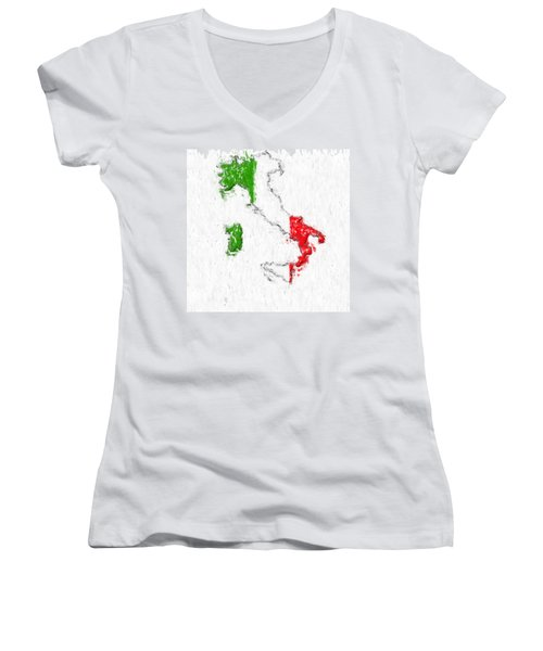 Italy Painted Flag Map Women's V-Neck T-Shirt (Junior Cut) by Antony McAulay