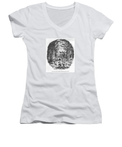 It's One Of Those Whistles Dogs Hear And We Don't Women's V-Neck T-Shirt (Junior Cut) by Alan Dunn