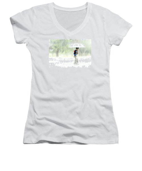 Women's V-Neck featuring the photograph It's Raining Outside by Heiko Koehrer-Wagner