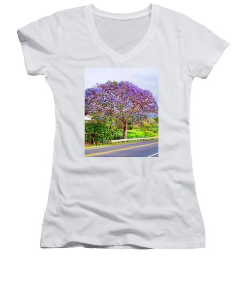 Jacaranda 4 Women's V-Neck T-Shirt (Junior Cut) by Dawn Eshelman