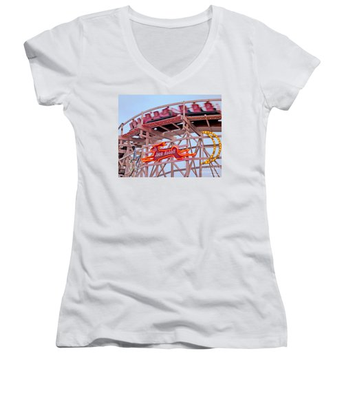 Jack Rabbit Coaster Kennywood Park Women's V-Neck T-Shirt