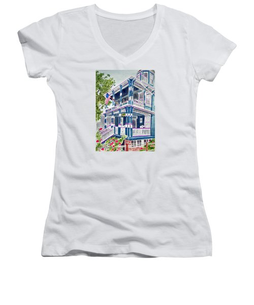 Jackson Street Inn Of Cape May Women's V-Neck (Athletic Fit)