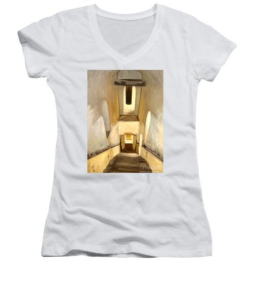 Jantar Mantar Staircase Women's V-Neck T-Shirt (Junior Cut) by Mukta Gupta