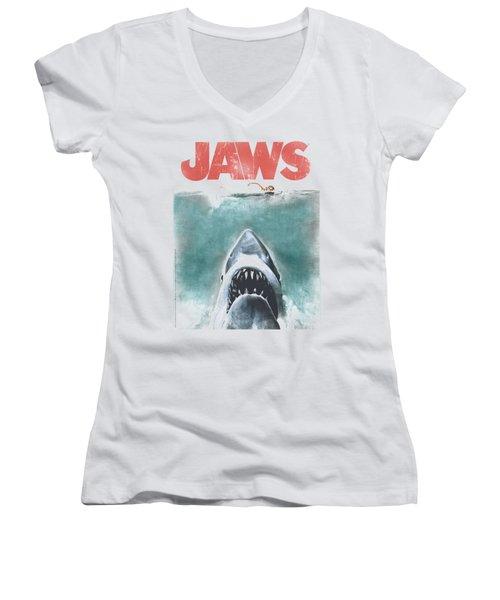 Jaws - Vintage Poster Women's V-Neck (Athletic Fit)