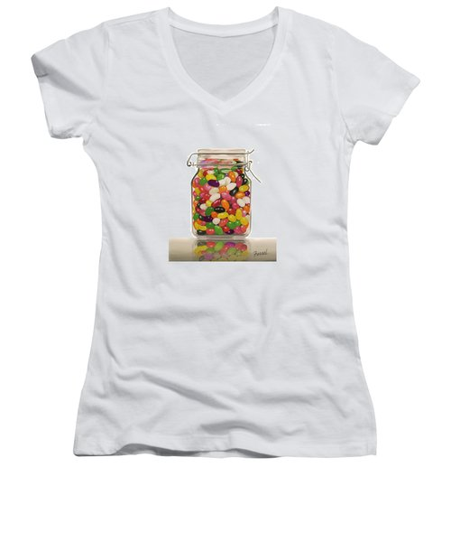 Jelly Beans Women's V-Neck T-Shirt (Junior Cut) by Ferrel Cordle