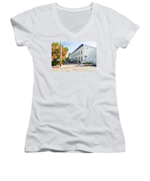 Women's V-Neck T-Shirt (Junior Cut) featuring the photograph Jeremys Way by Charles Kraus