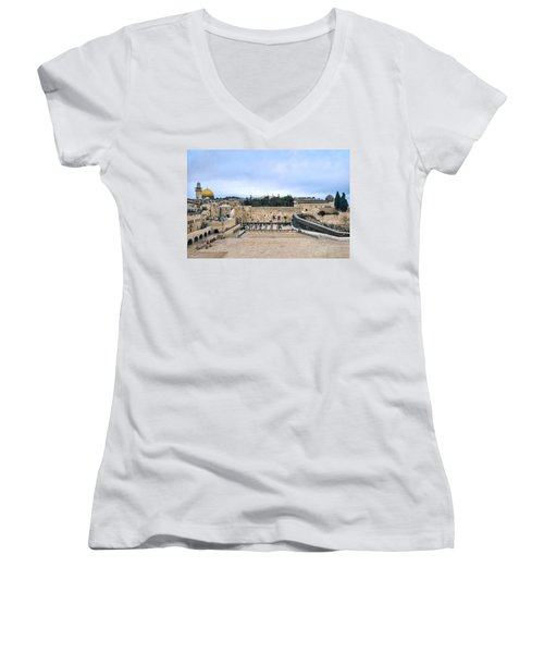 Women's V-Neck T-Shirt featuring the photograph Jerusalem The Western Wall by Ron Shoshani