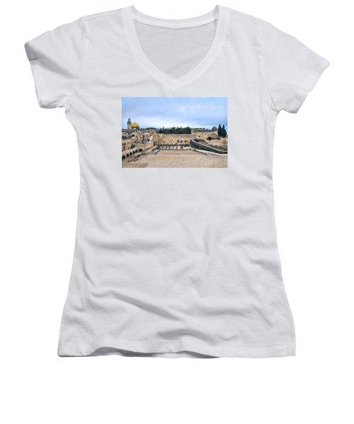 Jerusalem The Western Wall Women's V-Neck (Athletic Fit)