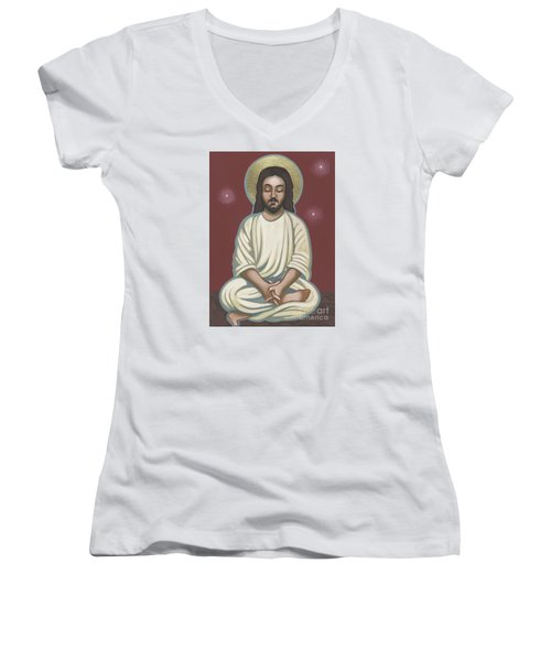 Women's V-Neck T-Shirt (Junior Cut) featuring the painting Jesus Listen And Pray 251 by William Hart McNichols