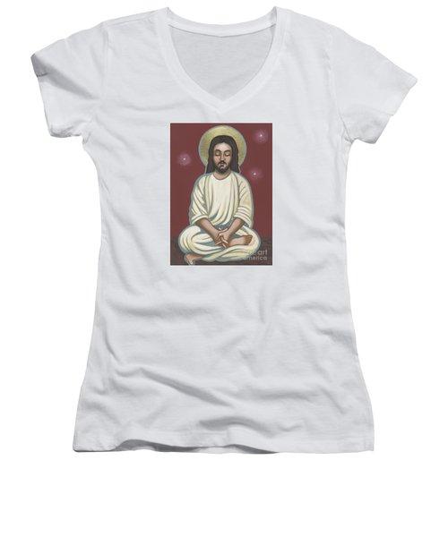 Jesus Listen And Pray 251 Women's V-Neck T-Shirt (Junior Cut) by William Hart McNichols