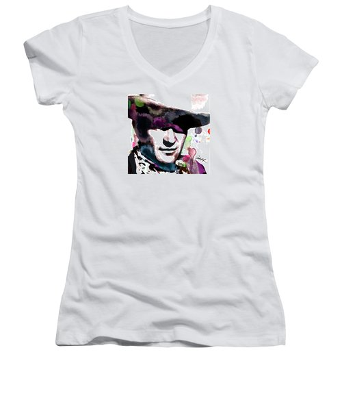 John Wayne Water Color Pop Art By Robert R Women's V-Neck (Athletic Fit)