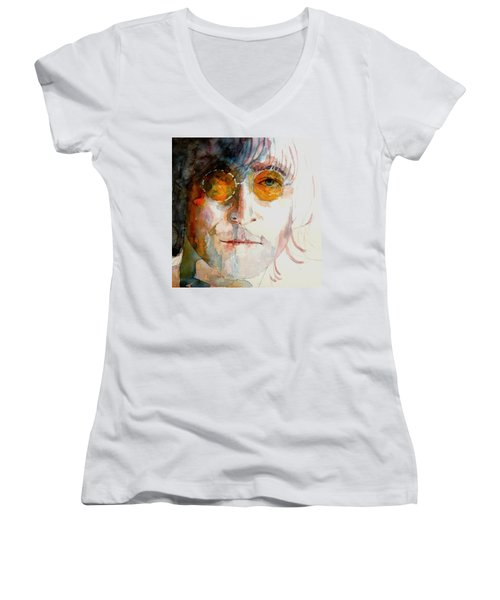 John Winston Lennon Women's V-Neck (Athletic Fit)