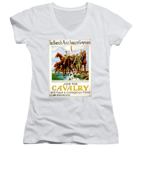 Join The Cavalry 1920 Women's V-Neck T-Shirt (Junior Cut) by Padre Art