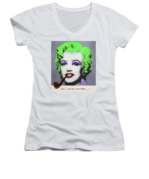 Joker Marilyn With Surreal Pipe Women's V-Neck T-Shirt (Junior Cut) by Filippo B