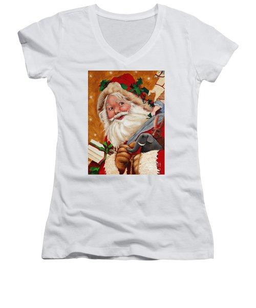 Jolly Santa Women's V-Neck (Athletic Fit)