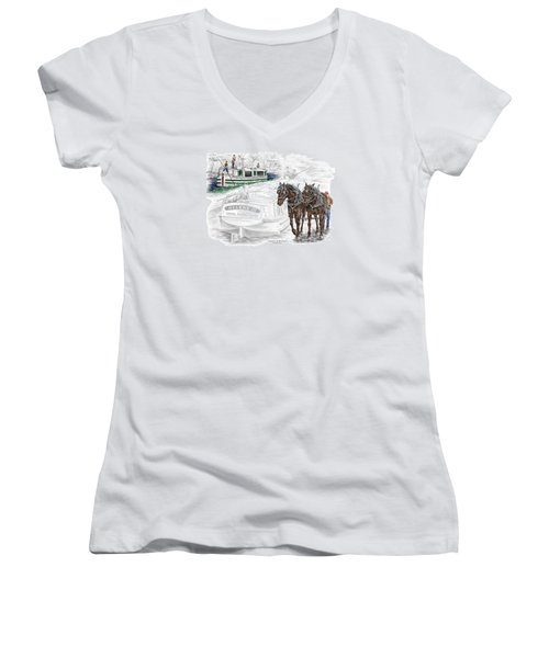 Journeys On The Canal - Canal Boat Print Color Tinted Women's V-Neck