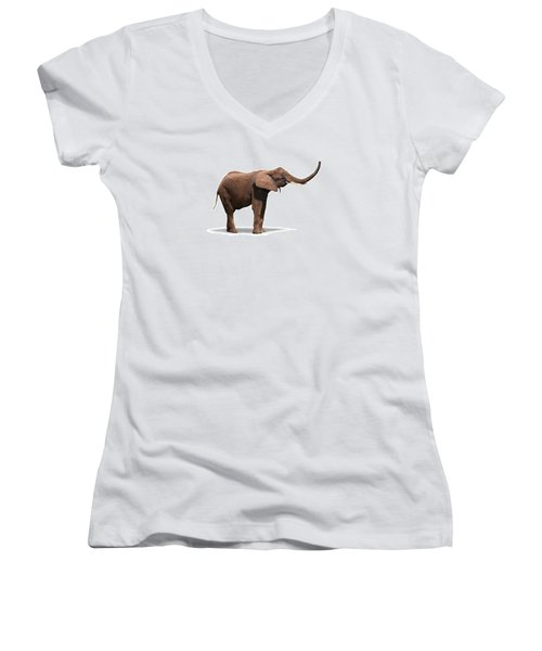 Joyful Elephant Isolated On White Women's V-Neck (Athletic Fit)