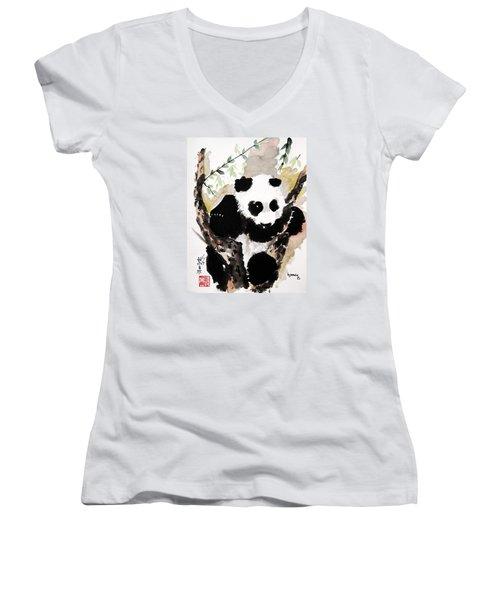 Women's V-Neck T-Shirt (Junior Cut) featuring the painting Joyful Innocence by Bill Searle