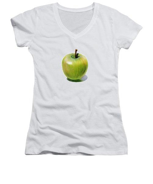 Juicy Green Apple Women's V-Neck T-Shirt (Junior Cut) by Irina Sztukowski