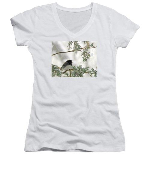 Women's V-Neck T-Shirt (Junior Cut) featuring the photograph Junco In Snowstorm by Paula Guttilla
