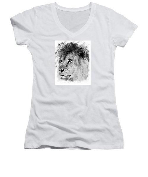 Jungle King Women's V-Neck T-Shirt (Junior Cut) by Marcia Lee Jones
