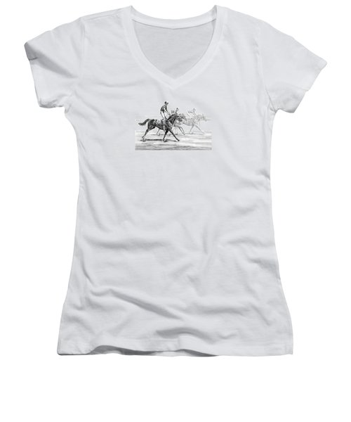 Just Finished - Horse Racing Print Women's V-Neck