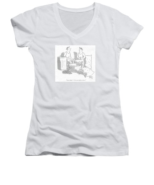 Just Think! We're In Italy At Last Women's V-Neck T-Shirt (Junior Cut) by Chon Day