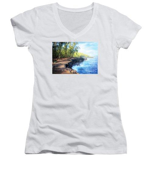 Kaloli Point Hawaii Women's V-Neck T-Shirt (Junior Cut) by Ellen Cotton
