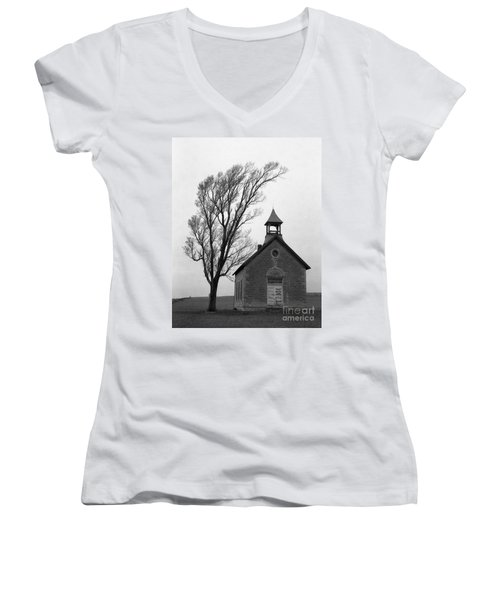 Kansas Schoolhouse Women's V-Neck (Athletic Fit)