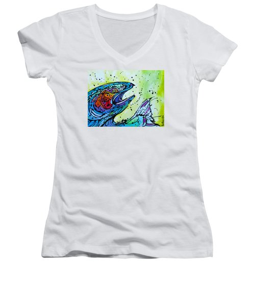 Women's V-Neck T-Shirt (Junior Cut) featuring the painting Karl by Nicole Gaitan