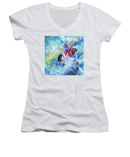 Women's V-Neck (Athletic Fit) featuring the painting Kayak Crush by Hanne Lore Koehler