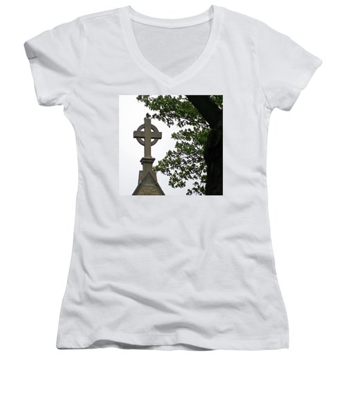 Keeping The Faith Women's V-Neck T-Shirt (Junior Cut) by Kay Novy