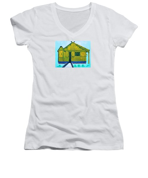Women's V-Neck T-Shirt (Junior Cut) featuring the painting Kiddie House by Lorna Maza
