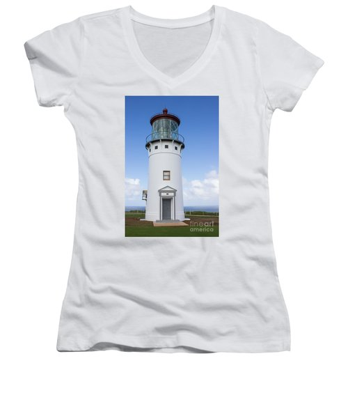 Women's V-Neck T-Shirt (Junior Cut) featuring the photograph Kilauea Lighthouse by Suzanne Luft
