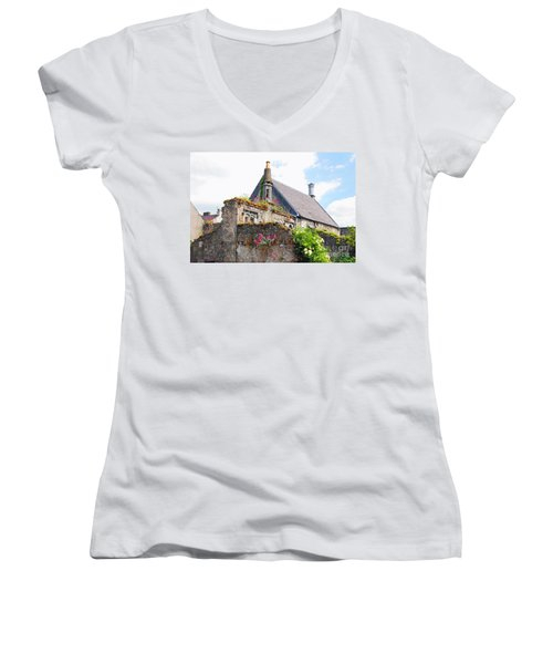 Women's V-Neck T-Shirt (Junior Cut) featuring the photograph Kilkenny House by Mary Carol Story